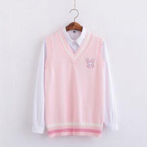 Chaleco de punto kawaii rosa pastel con conejito bordado