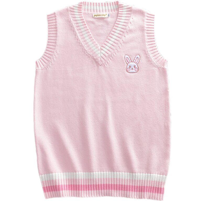 Chaleco de punto kawaii rosa pastel con conejito bordado 5