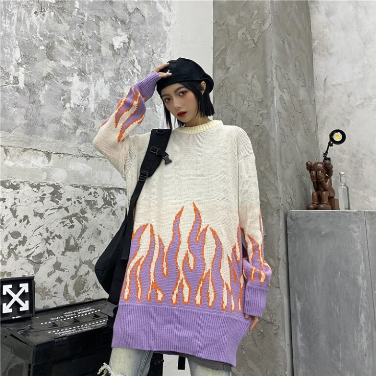 Sueter estilo Kawaii Noir con llamas rosas 6