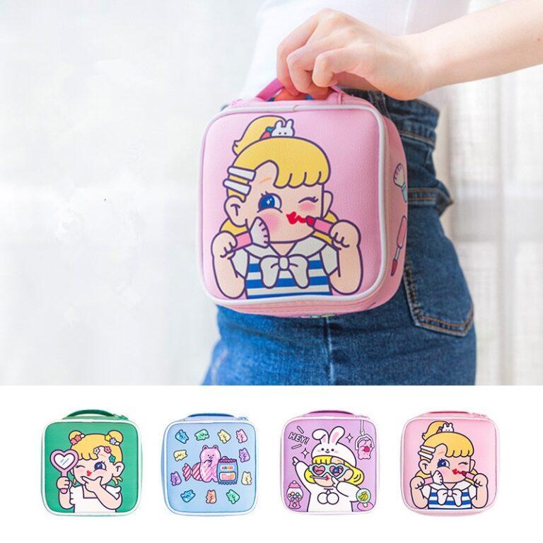 Bolsa de maquillaje con dibujos animados para mujer, bolsa de viaje portátil, organizador de belleza, bolso de mano 2