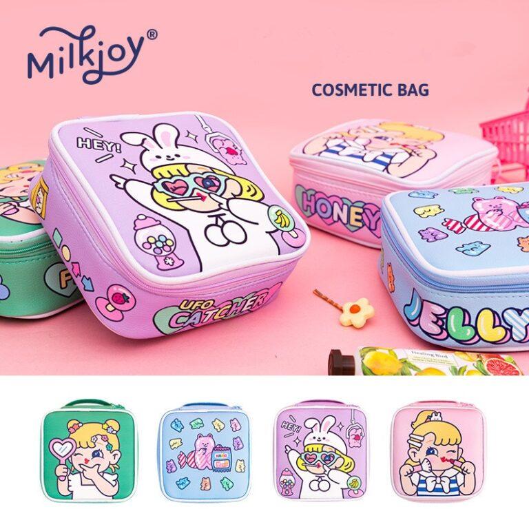 Bolsa de maquillaje con dibujos animados para mujer, bolsa de viaje portátil, organizador de belleza, bolso de mano 4