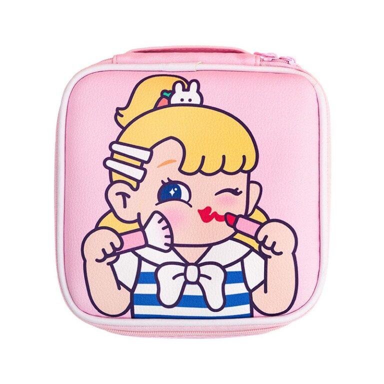 Bolsa de maquillaje con dibujos animados para mujer, bolsa de viaje portátil, organizador de belleza, bolso de mano 5