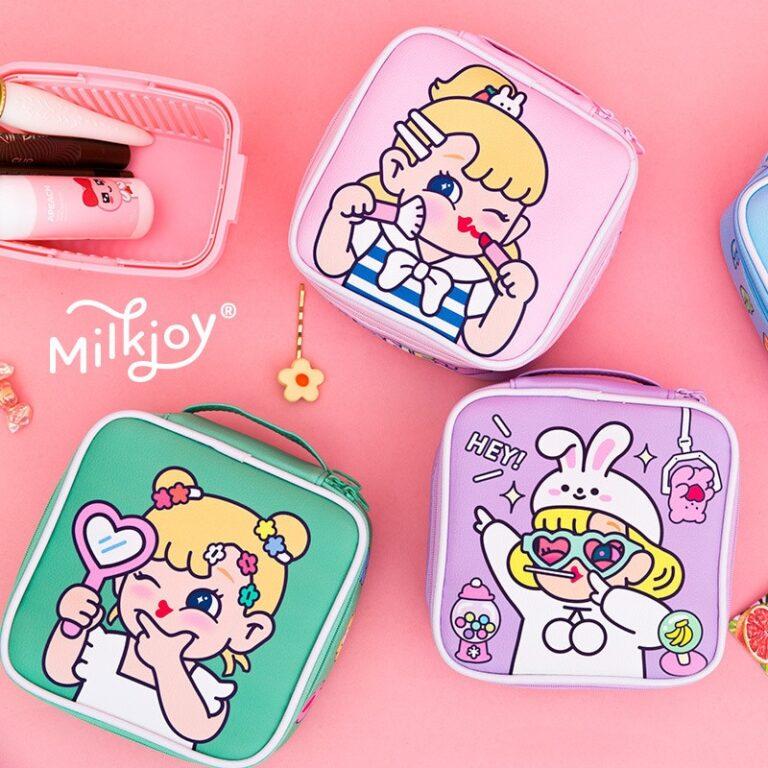 Bolsa de maquillaje con dibujos animados para mujer, bolsa de viaje portátil, organizador de belleza, bolso de mano 1