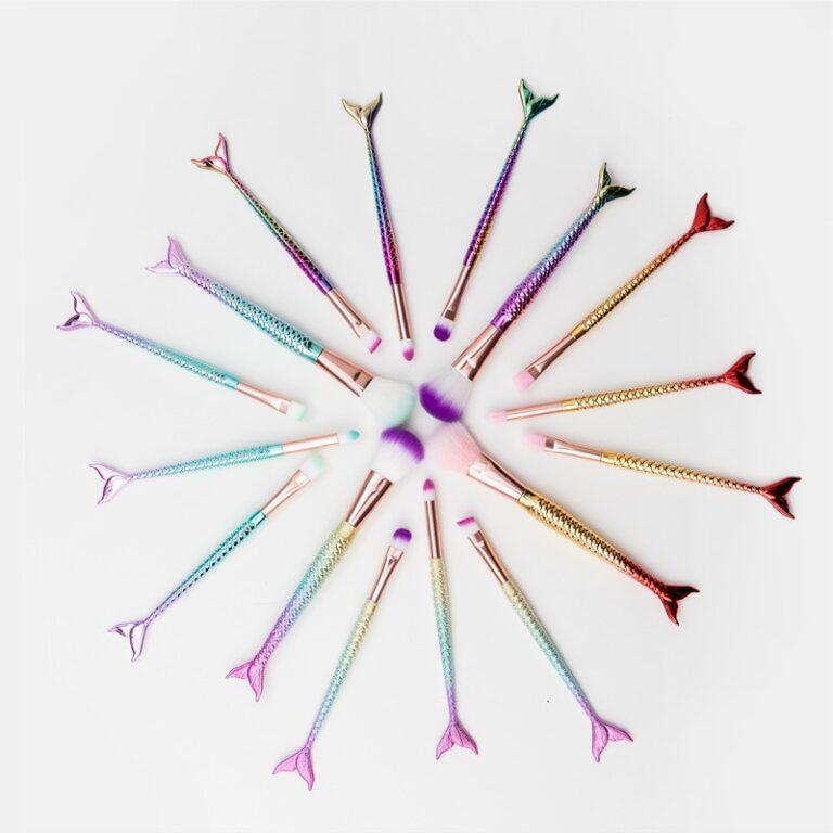 Brocha de maquillaje de sirena, herramienta de belleza, 4 Uds. 4
