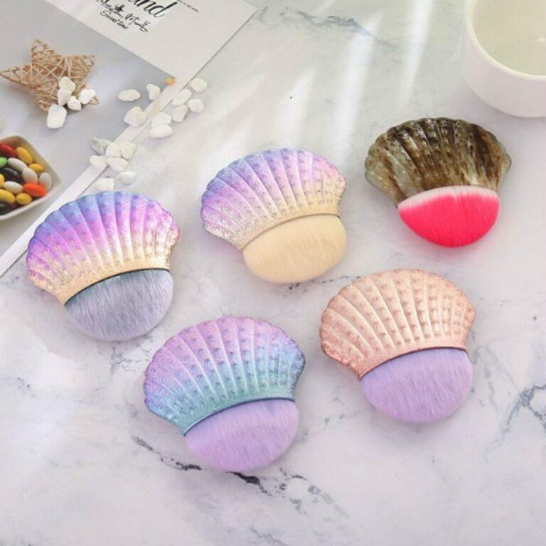 Brocha de maquillaje profesional de sirena, 1 ud., cola de pescado en polvo, herramientas cosméticas, brocha para esculpir 3