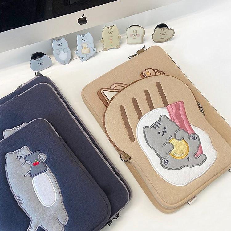 Tablet kılıf laptop saklama çantası Mac Ipad pro 9.7 11 13 inç karikatür tost kedi kollu astar çanta öğrenci kızlar 7