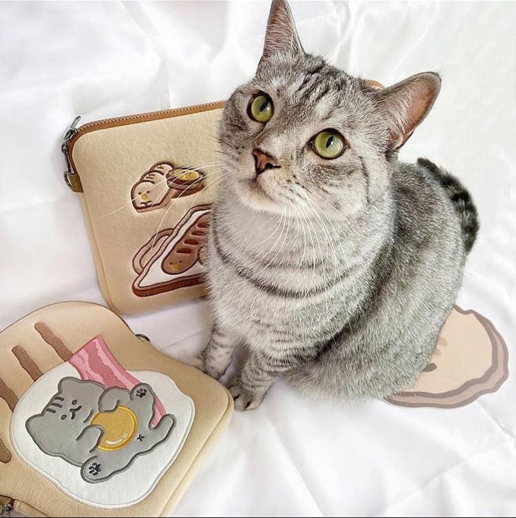 Tablet kılıf laptop saklama çantası Mac Ipad pro 9.7 11 13 inç karikatür tost kedi kollu astar çanta öğrenci kızlar 8