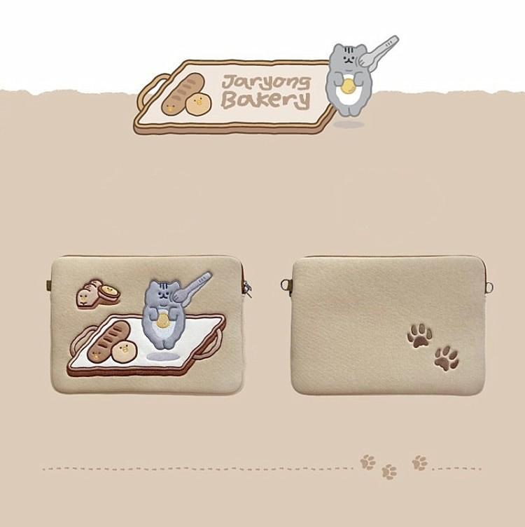 Tablet kılıf laptop saklama çantası Mac Ipad pro 9.7 11 13 inç karikatür tost kedi kollu astar çanta öğrenci kızlar 12