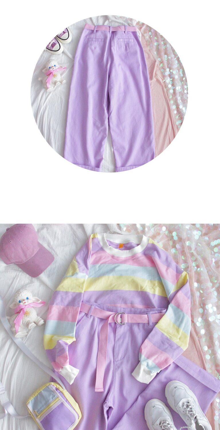 Pantalones lila anchos kawaii 7