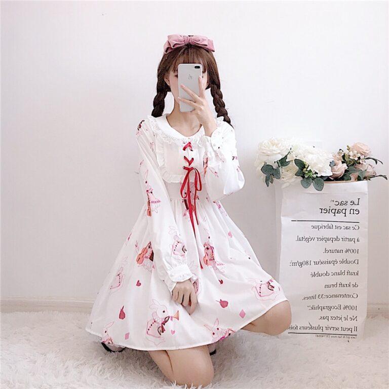 Vestido de lolita rojo con motivos de conejo 19