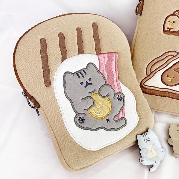 Tablet kılıf laptop saklama çantası Mac Ipad pro 9.7 11 13 inç karikatür tost kedi kollu astar çanta öğrenci kızlar 9