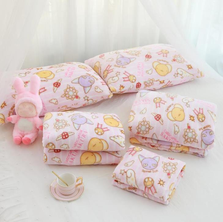 Manta de franela con dibujos de Sakura, funda de almohada de felpa, suave, peluches, regalos para novia, 1 Uds. 2