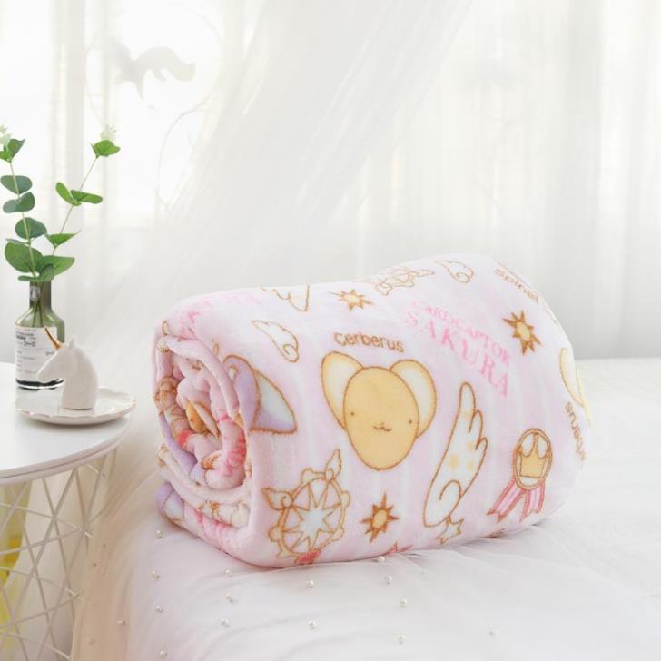 Manta de franela con dibujos de Sakura, funda de almohada de felpa, suave, peluches, regalos para novia, 1 Uds. 5