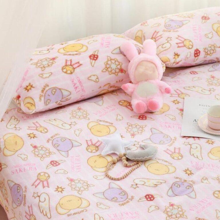 Manta de franela con dibujos de Sakura, funda de almohada de felpa, suave, peluches, regalos para novia, 1 Uds. 1