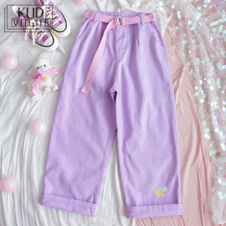 Pantalones lila anchos kawaii 2