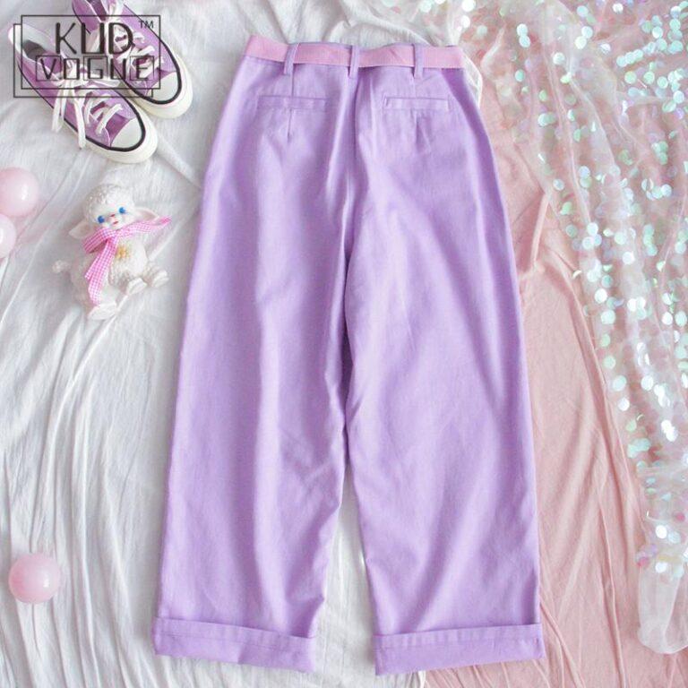 Pantalones lila anchos kawaii 3