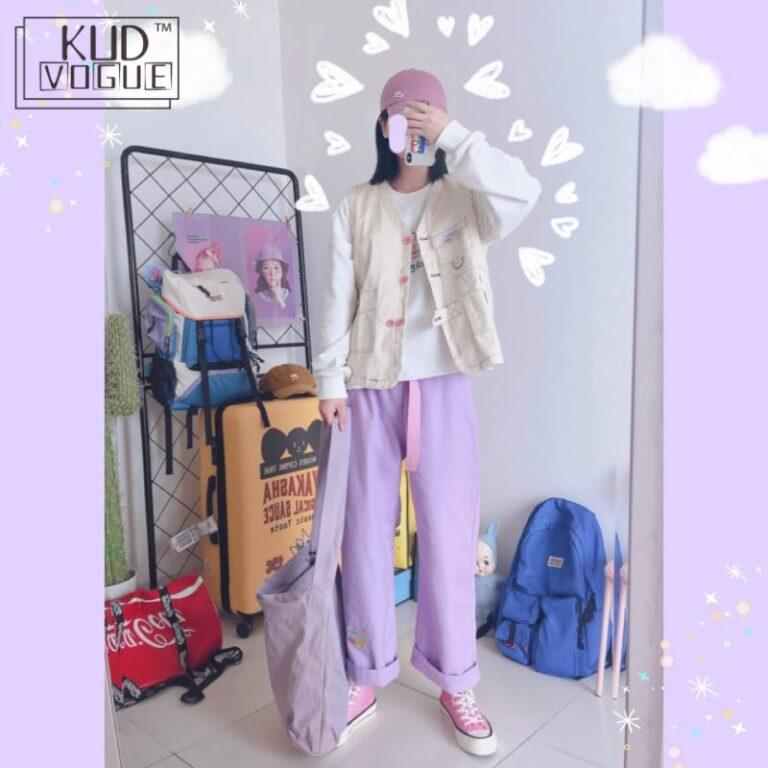 Pantalones lila anchos kawaii 4