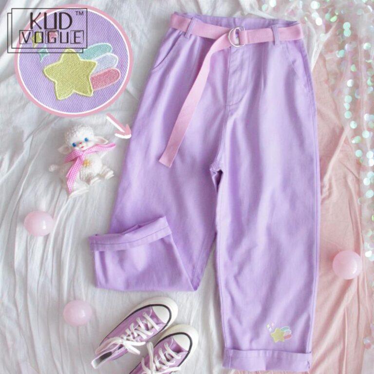 Pantalones lila anchos kawaii 1
