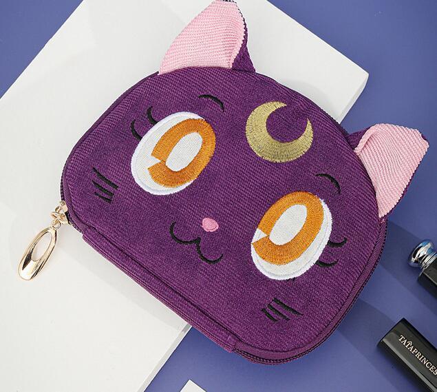 Sailor Moon-bolsa para guardar joyas de gato y Luna, bolsa de maquillaje de gran capacidad, para viaje, regalo de Navidad para chica 1