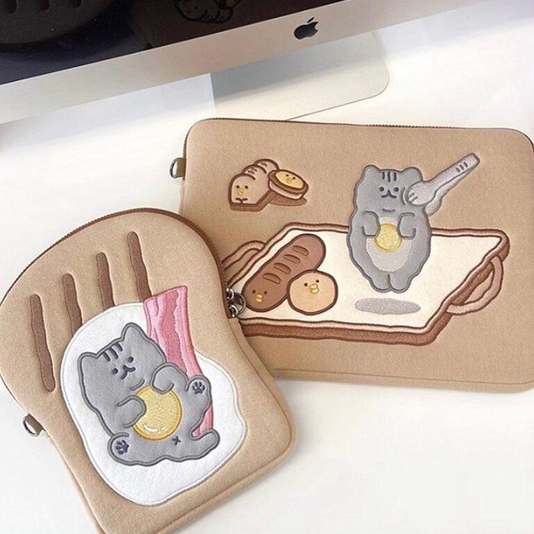 Tablet kılıf laptop saklama çantası Mac Ipad pro 9.7 11 13 inç karikatür tost kedi kollu astar çanta öğrenci kızlar 2