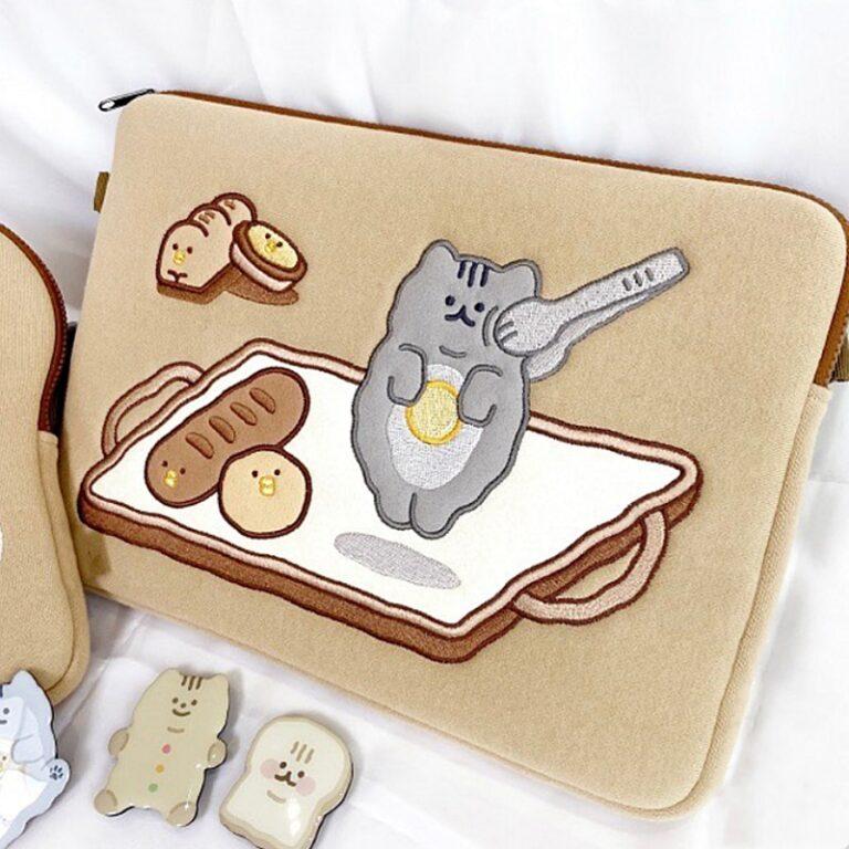 Tablet kılıf laptop saklama çantası Mac Ipad pro 9.7 11 13 inç karikatür tost kedi kollu astar çanta öğrenci kızlar 3