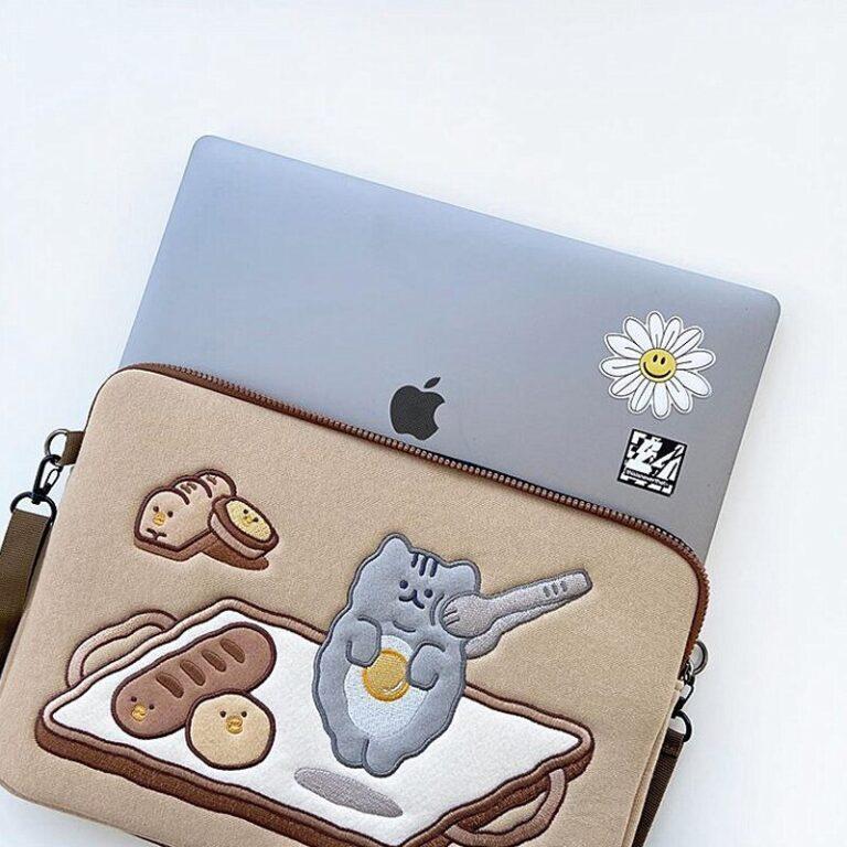 Tablet kılıf laptop saklama çantası Mac Ipad pro 9.7 11 13 inç karikatür tost kedi kollu astar çanta öğrenci kızlar 4