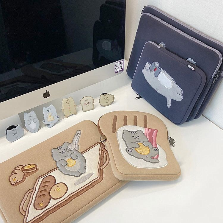 Tablet kılıf laptop saklama çantası Mac Ipad pro 9.7 11 13 inç karikatür tost kedi kollu astar çanta öğrenci kızlar 5