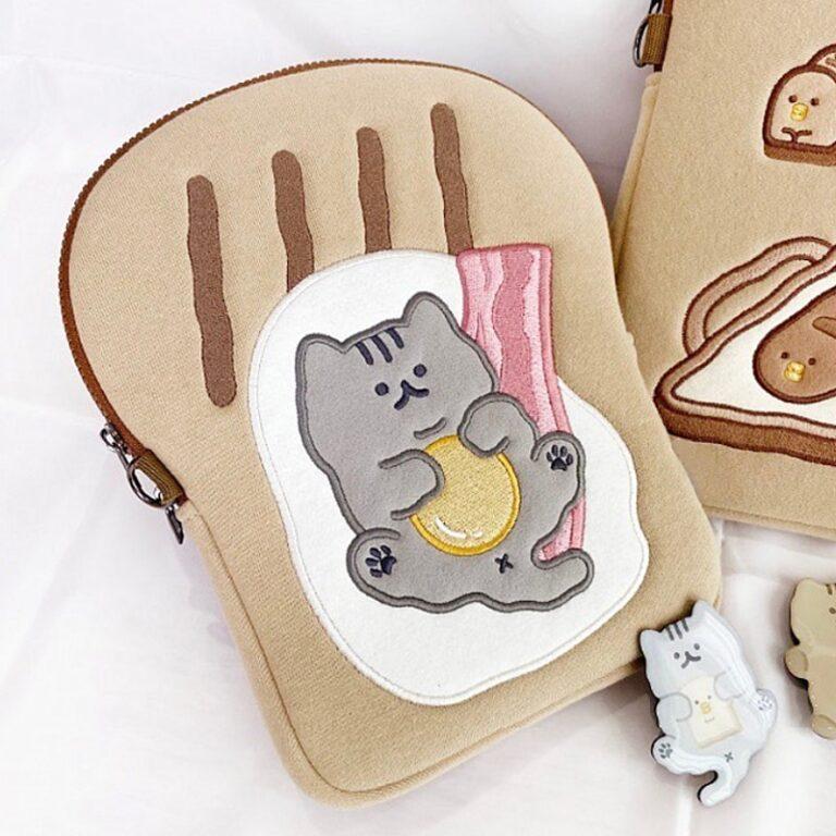 Tablet kılıf laptop saklama çantası Mac Ipad pro 9.7 11 13 inç karikatür tost kedi kollu astar çanta öğrenci kızlar 1