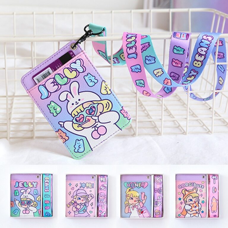 Tarjetero de cuero con estampado de dibujos animados para chicas, cartera colgante para tarjetas de crédito, funda para tarjeta de autobús 2