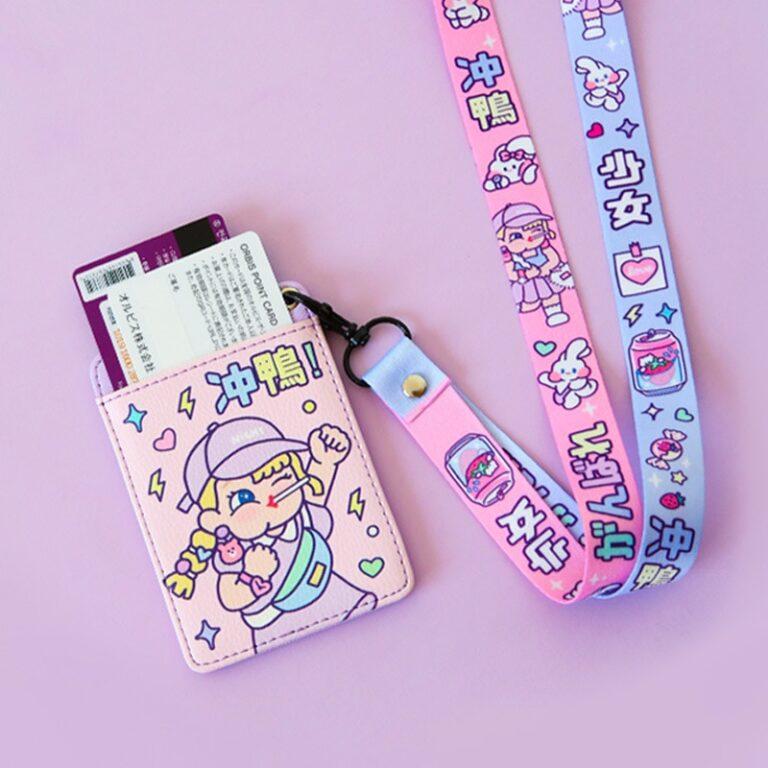 Tarjetero de cuero con estampado de dibujos animados para chicas, cartera colgante para tarjetas de crédito, funda para tarjeta de autobús 3