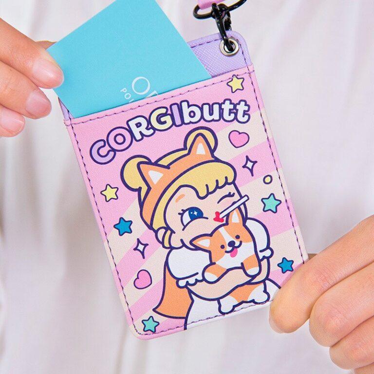 Tarjetero de cuero con estampado de dibujos animados para chicas, cartera colgante para tarjetas de crédito, funda para tarjeta de autobús 5