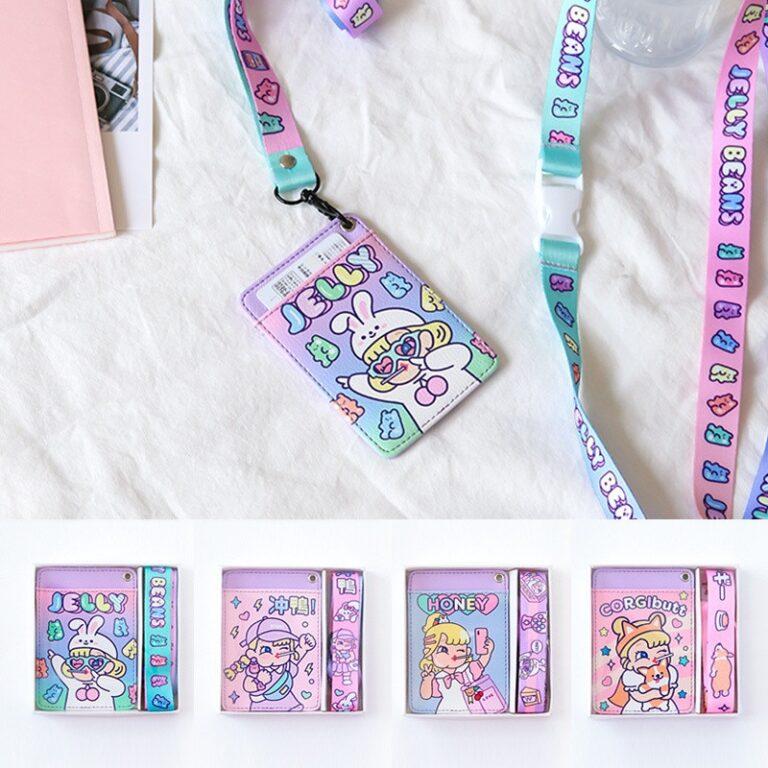 Tarjetero de cuero con estampado de dibujos animados para chicas, cartera colgante para tarjetas de crédito, funda para tarjeta de autobús 6
