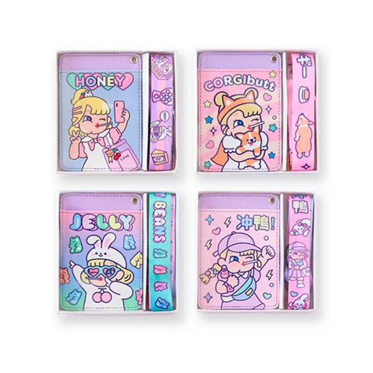 Tarjetero de cuero con estampado de dibujos animados para chicas, cartera colgante para tarjetas de crédito, funda para tarjeta de autobús 1