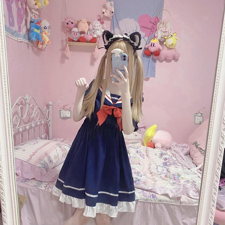 Vestido sailor azul marino estilo gothic lolita 2