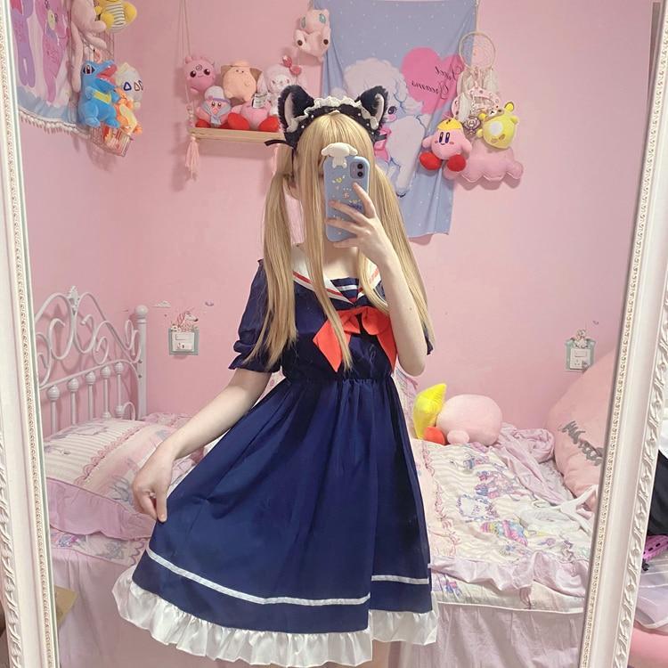 Vestido sailor azul marino estilo gothic lolita 3