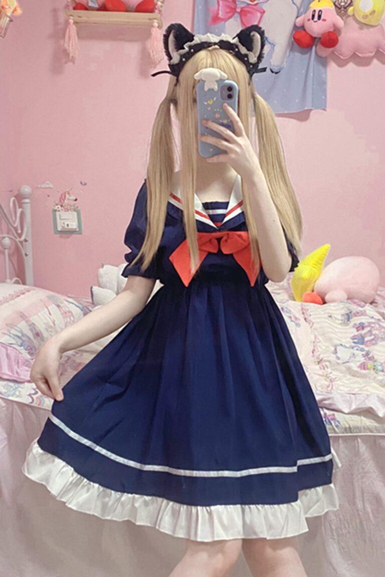 Vestido sailor azul marino estilo gothic lolita 5