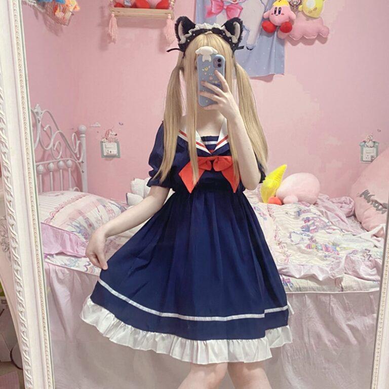 Vestido sailor azul marino estilo gothic lolita 1