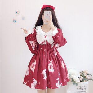 Vestido de lolita rojo con motivos de conejo